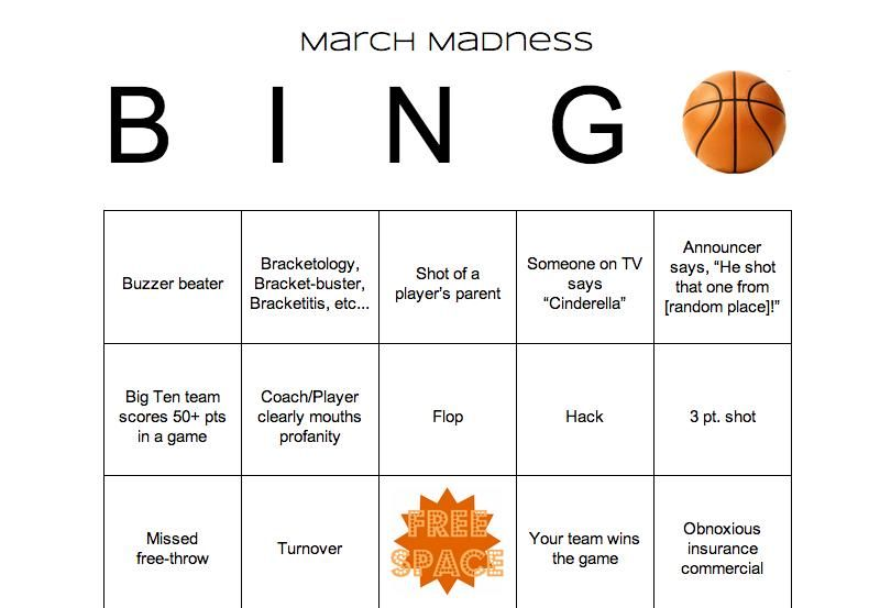 march madness bridal shower March Madness Bingo Game