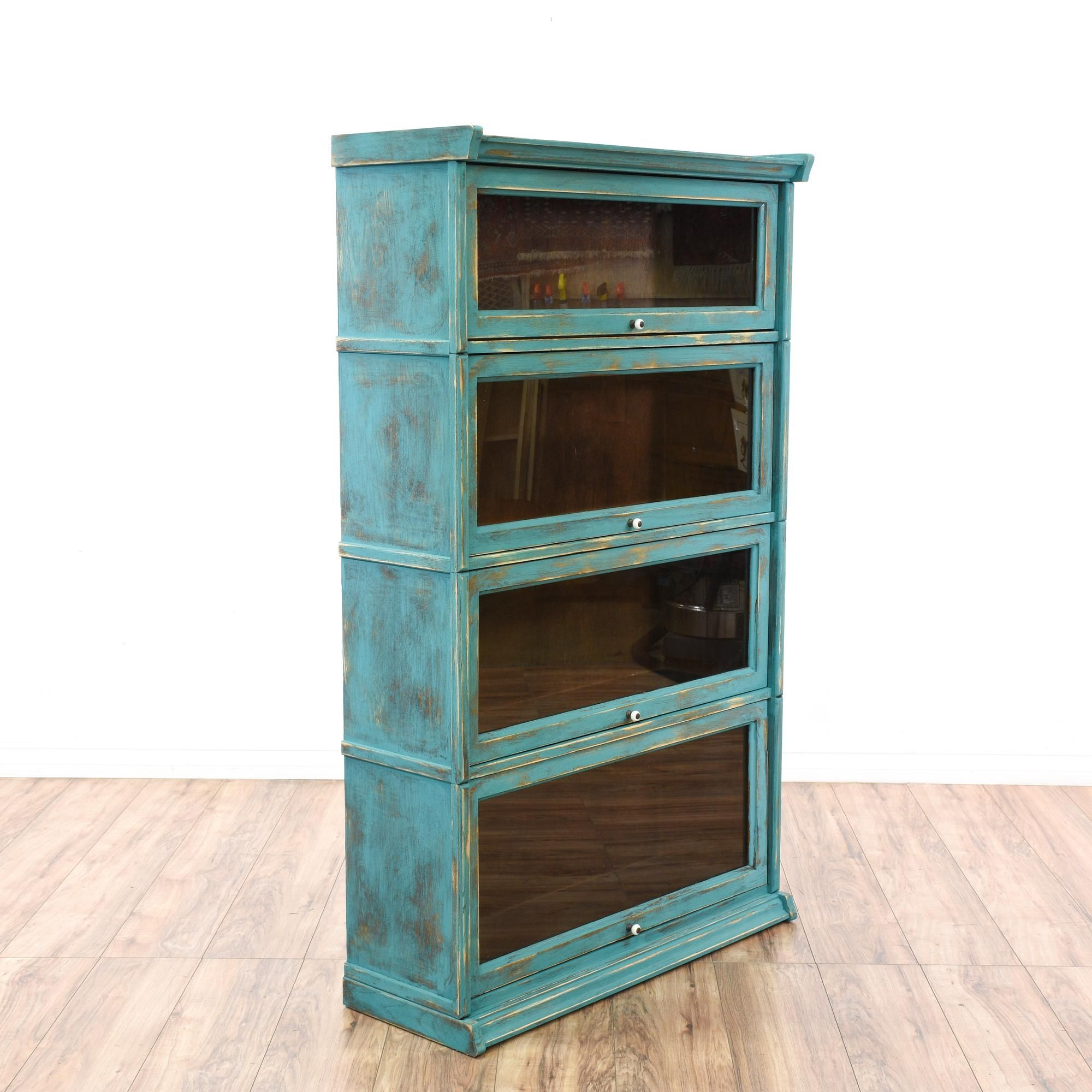 This lawyer s bookcase is featured in a solid wood with a distressed