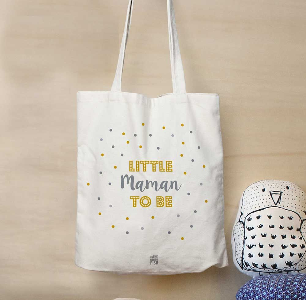 Cadeau Baby Shower, sac Little Maman to be, tote bag cadeau de ...