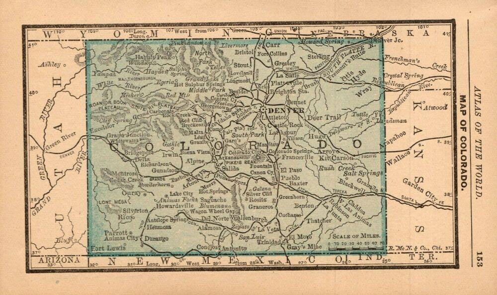 1888 Antique Colorado Map Miniature Vintage Map Of Colorado State Map 8240 In 2020 Colorado Map Miniature Map State Map