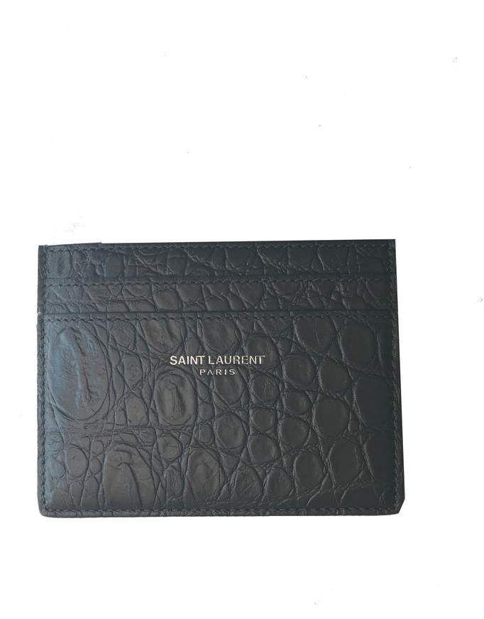 4adecd9f5e65 Saint Laurent Card Holder Crocodile Print Coal