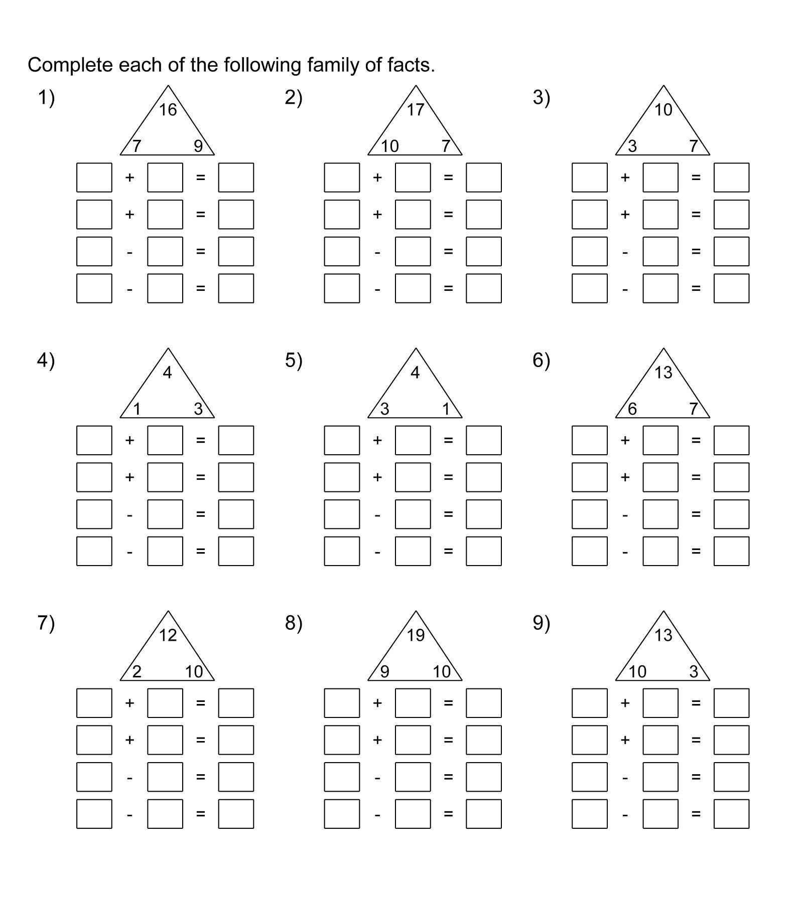 Fact Families Worksheets Printable   Fact family worksheet [ 1791 x 1600 Pixel ]