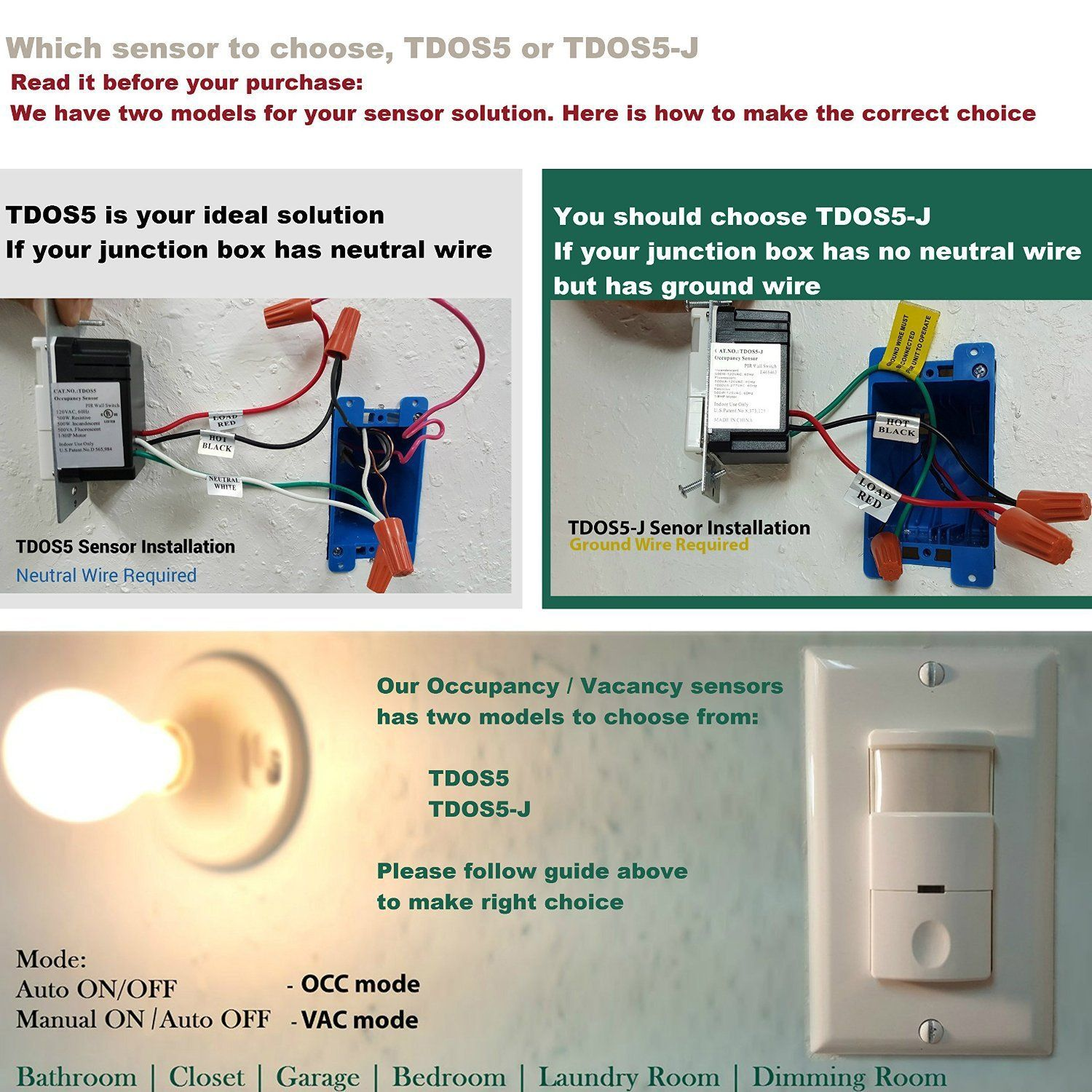 medium resolution of topgreener tdos5 w 2 in 1 pir occupancy vancancy motion sensor switch single pole 180 500w amazon com