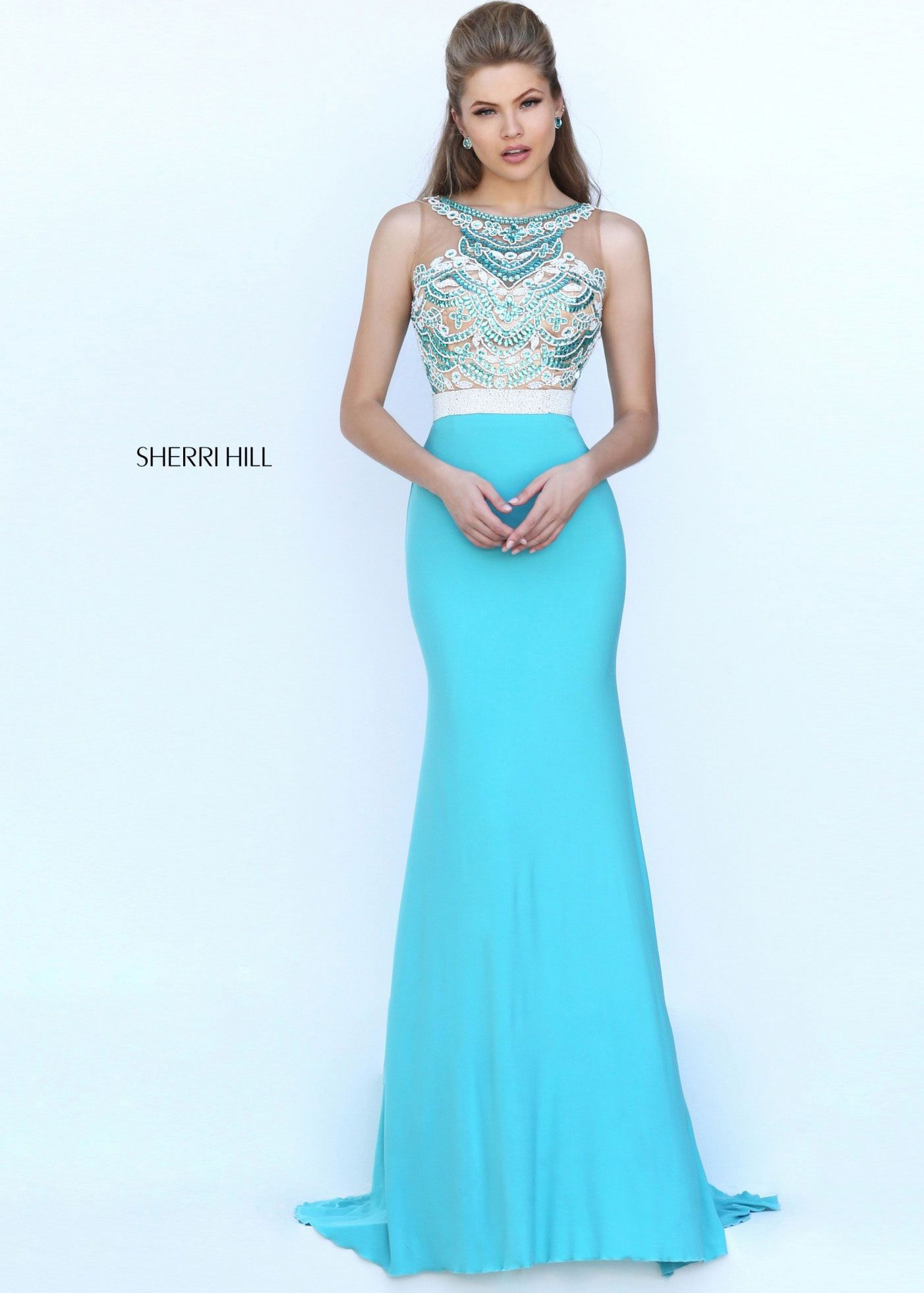 Sherri Hill 50396 Beaded Fitted High Neck Jersey Dress ...
