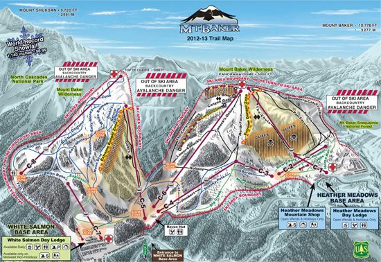 Ski Mt Baker Trail Map With World Record Snowfall Strength