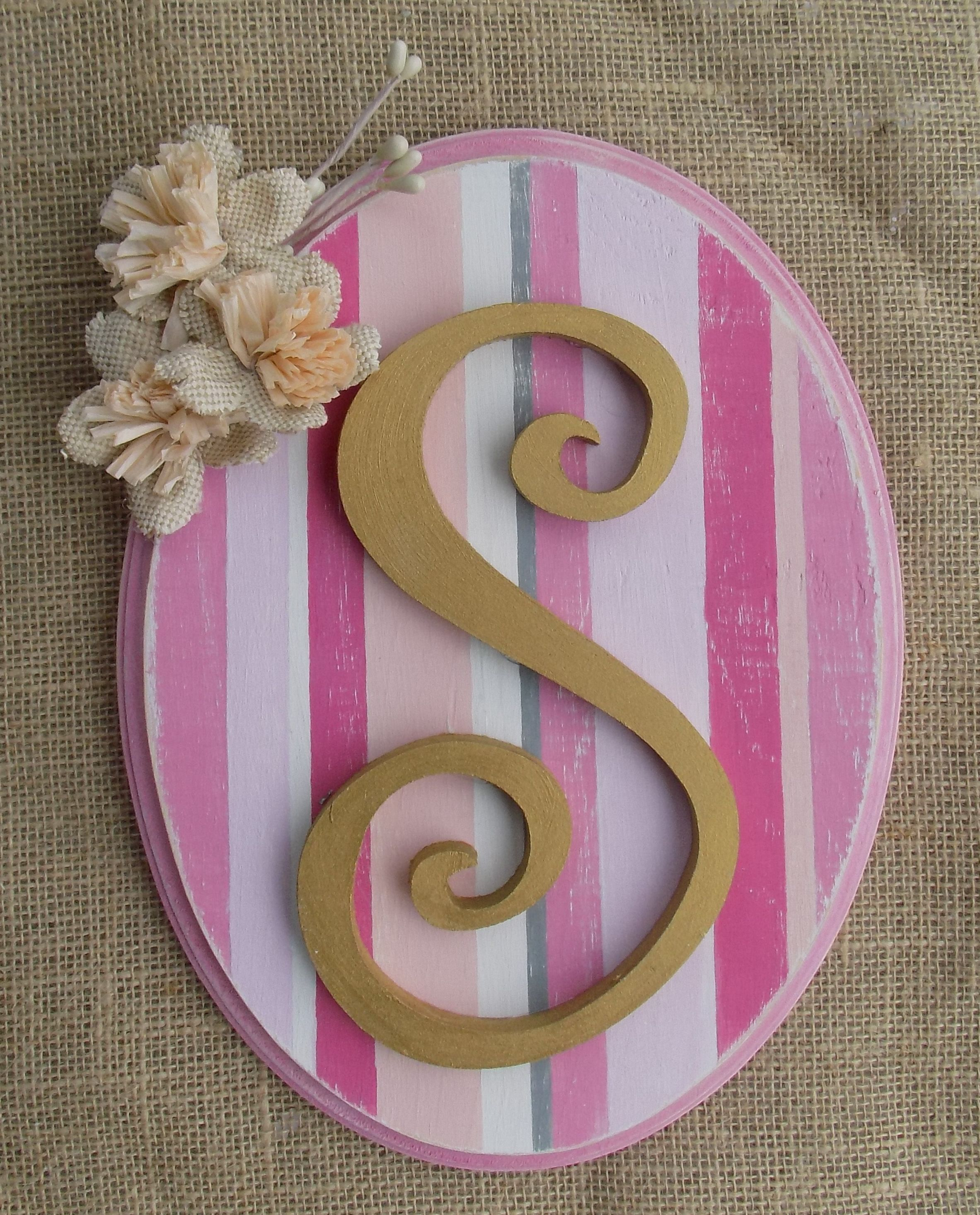 """11"""" x 14"""" Distressed Chic Personalized Letter Plaques  Please LIKE and RE-PIN! Find me on Facebook @ Gigi's Crafts & Decor or www.facebook.com/gigisvintagefurnitureanddecor"""