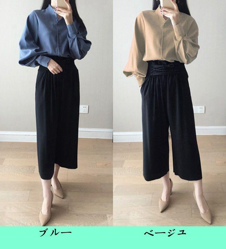 韓国ファッションシャツ/Tシャツ/新作更新レディース トップス ブラウス タック入り ロング丈