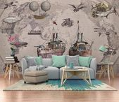 Retro Nautical Map Ship Classic Car Mural Background Wall World Map Old Wallpape…