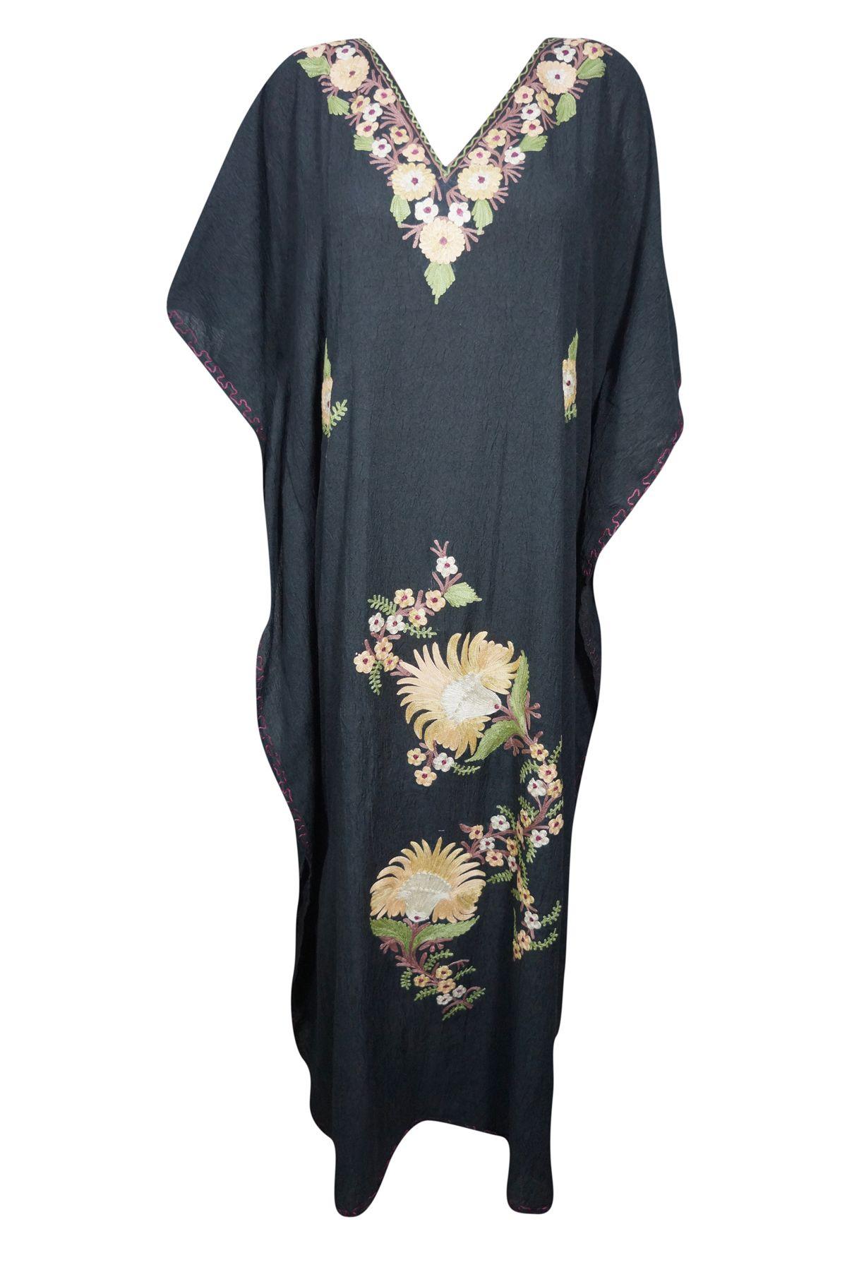 Women S Black Embroidered Maxi Caftan Dress Summer Cotton Cover Up Kaftan Caftan Dress Summer Dresses Maxi Caftan [ 1802 x 1200 Pixel ]