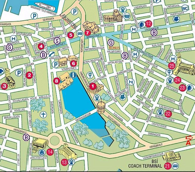 Map Of Reykjavik City Centre