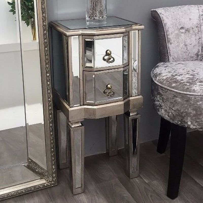 Venetian Mirrored Bedside Small Glass Nightstand Table Antique