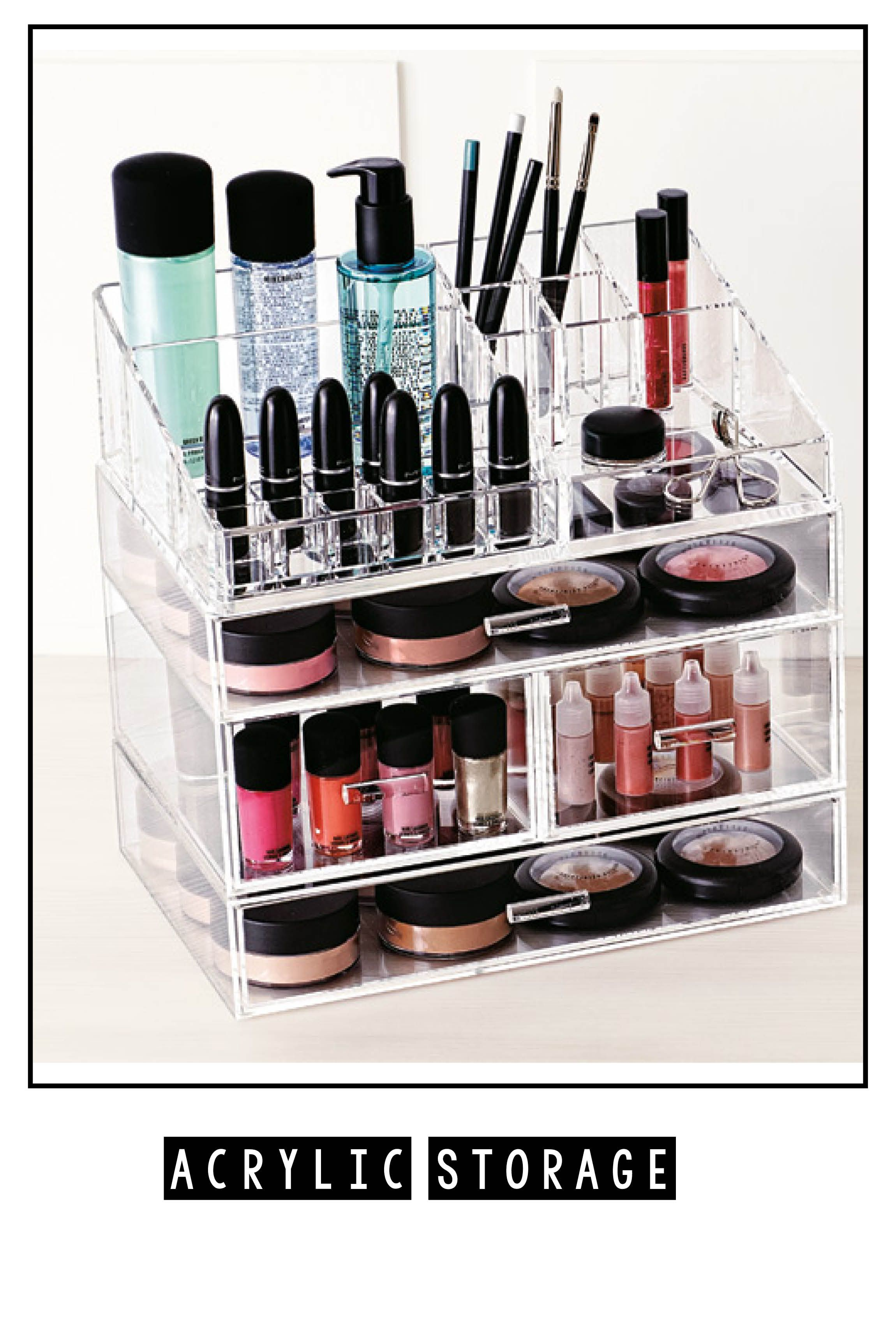 Clear acrylic containers are a great way to store makeup