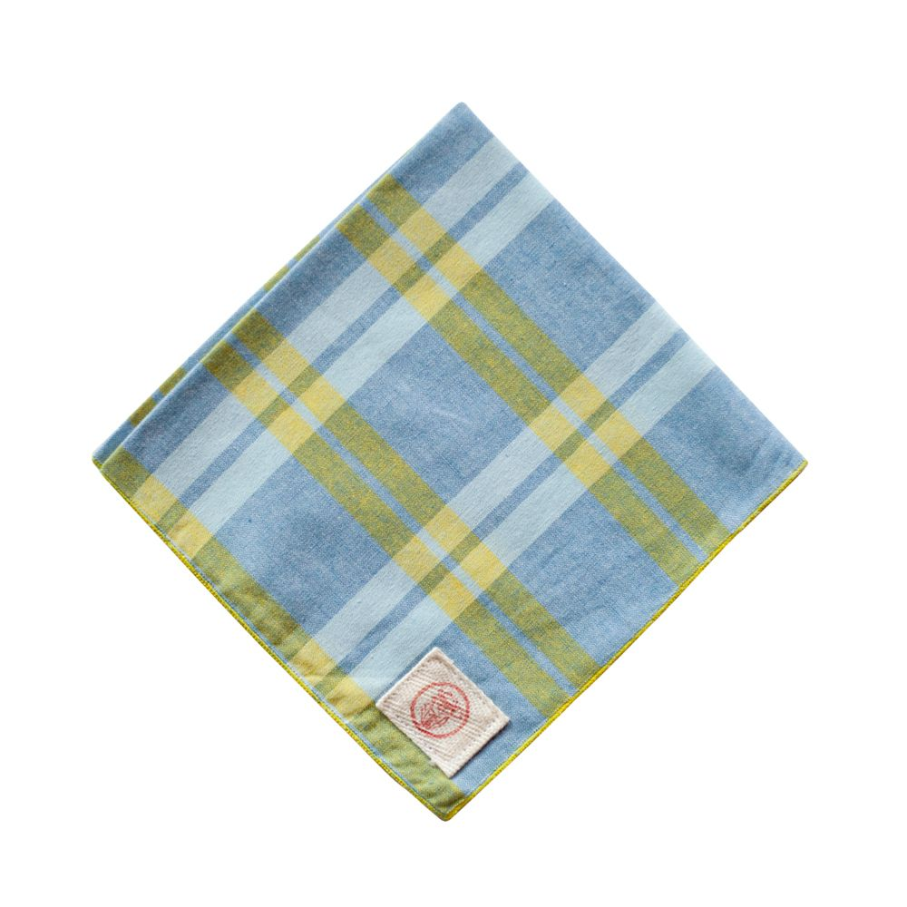 Blue Yellow Plaid Chambray Pocket Square | Stalward Ltd.