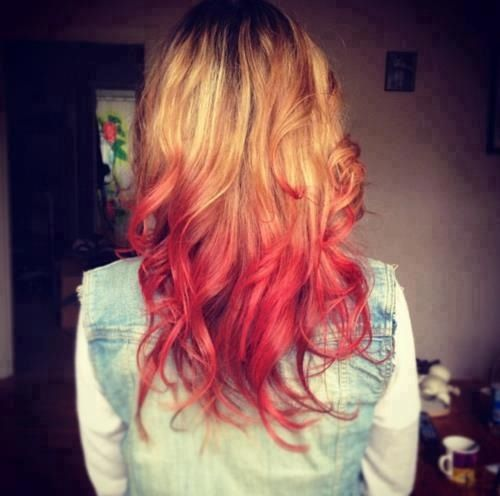 Red Tips Blonde Hair Tips Red Hair Tips Red Ombre Hair
