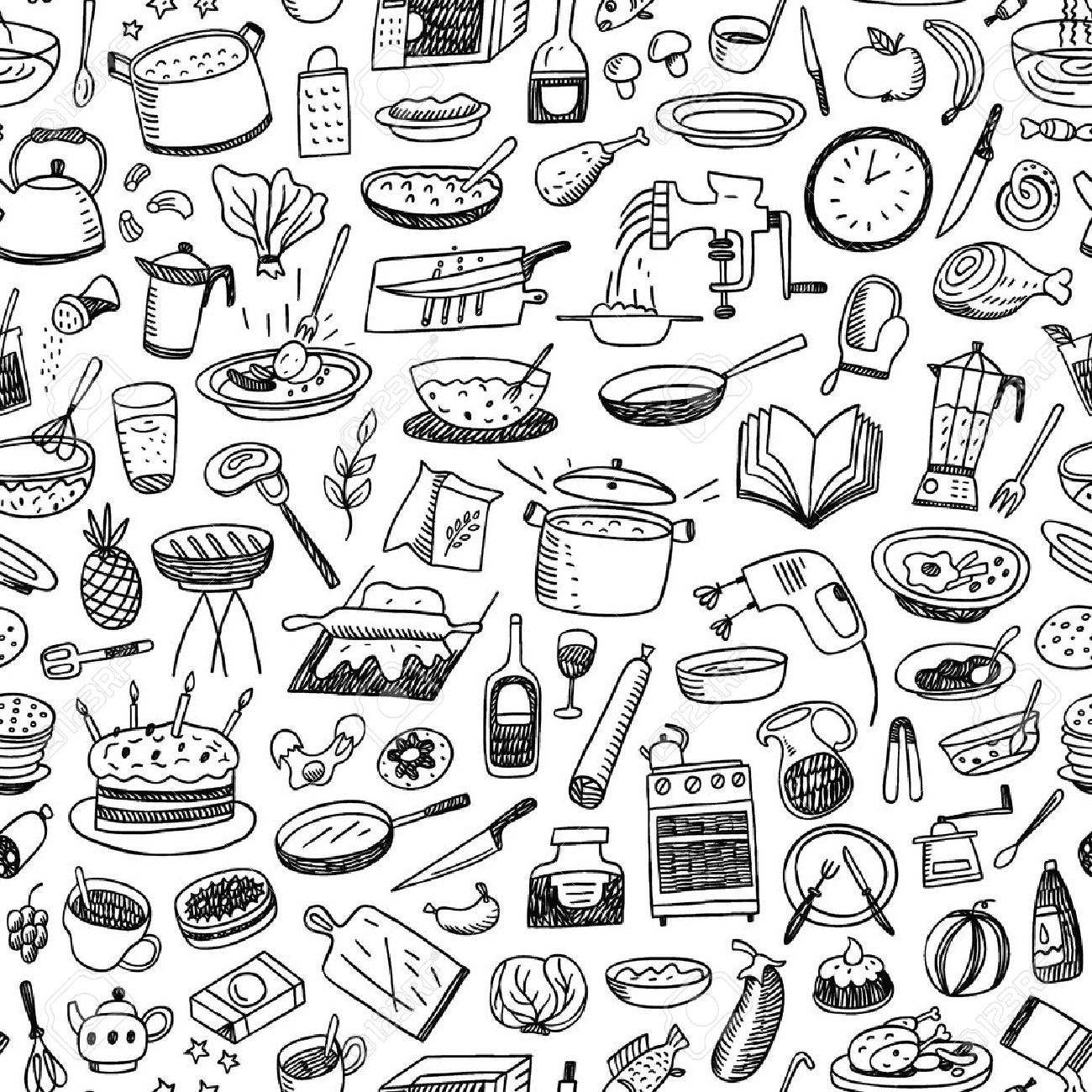 Cookery Natural Food Seamless Pattern With Icons In Sketch Style Aff Food Seamless Cookery Natu Seamless Background Illustration Free Vector Art