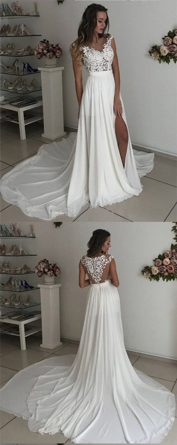 White cap sleeves lace chiffon side slit long prom gowns