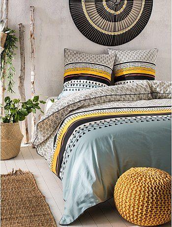 parure de lit 2 personnes imprim ethnique bleu beige. Black Bedroom Furniture Sets. Home Design Ideas
