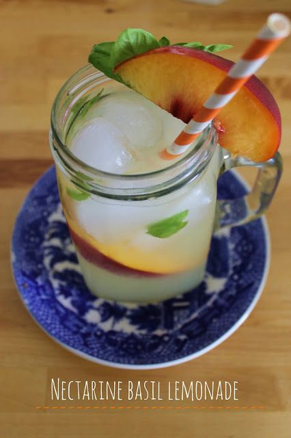 refreshing end of summer drink: nectarine basil lemonade. #basillemonade