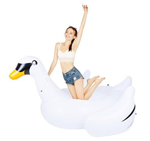 Swimline Swimming Pool Adult Kids Giant Rideable Swan Inflatable Float Toy Raft