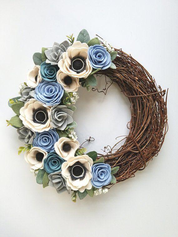 Photo of Wreaths – Wreath – Farmhouse Wreath – Faux Wreath – Felt Flower Wreath – Felt Wreath – 14 Inch Wreath – Modern Wreath – Everyday Wreath