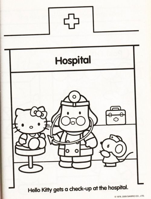 Kleurplaat Ziekenhuis Hospital Hello Kitty Pinterest