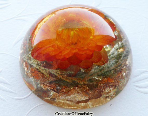 Orange paperweight Desk toy Round art deco style orange green gold desk accessory Handmade holiday favor Womans gift for mom A9F 43