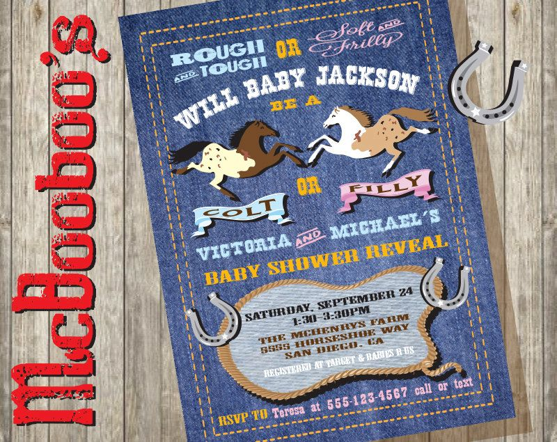 cowboy colt or filly horse gender reveal couples baby shower on a