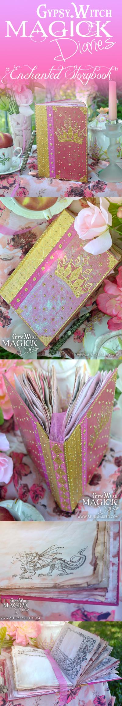 """Enchanted Storybook"" Spiritual journal, a handmade fairytale themed book of shadows: www.AfuraFareed.com"