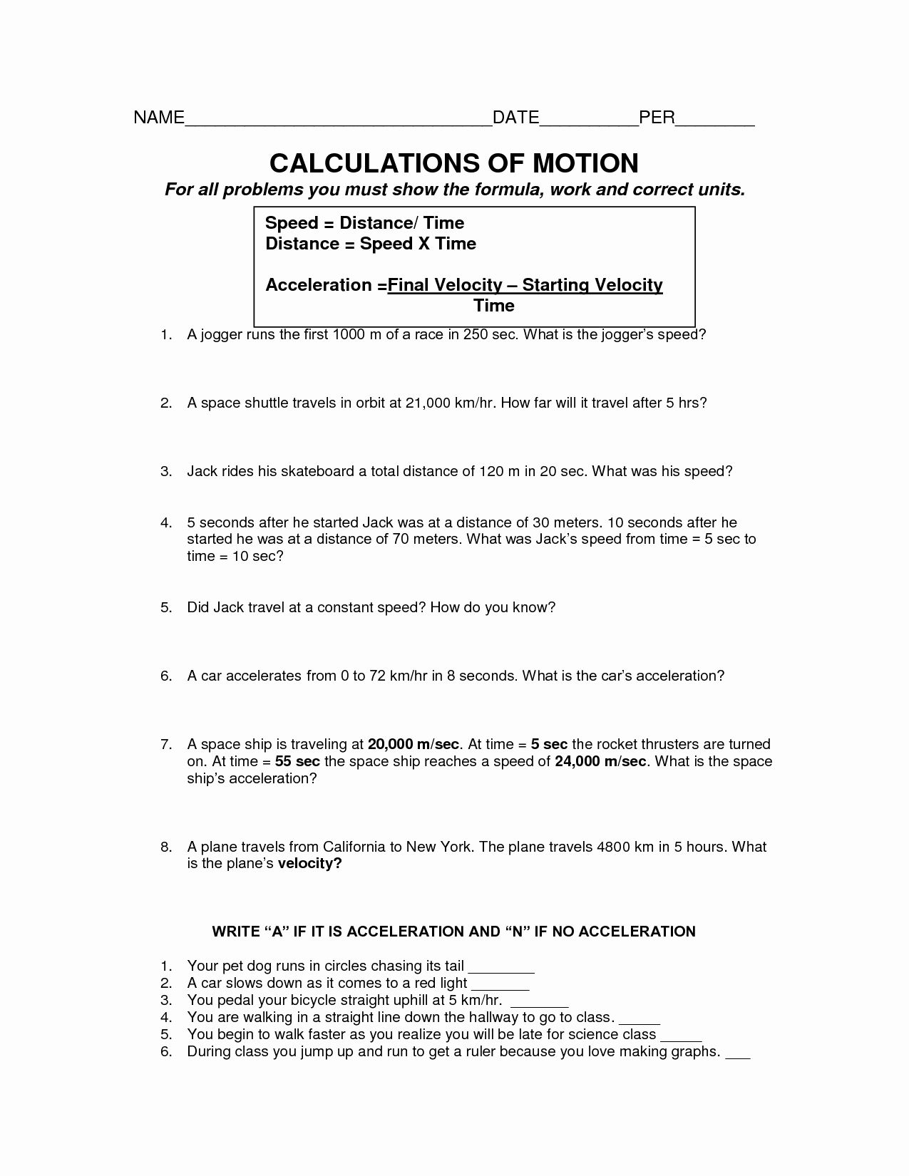 Determining Speed Velocity Worksheet Answers Awesome 17