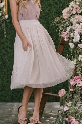 Margot Taupe Polka Dot Tulle Midi Skirt