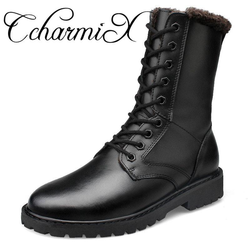 c4fbc31e59 43% Off ] CcharmiX Large Size Genuine Leather Mens Winter Shoes Mid ...