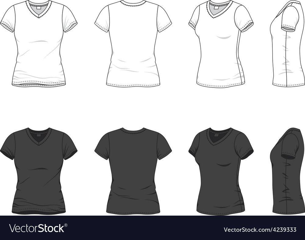 V Neck T Shirt Vector Image On Vectorstock Hoodie Vector Vector Clothes V Neck T Shirt