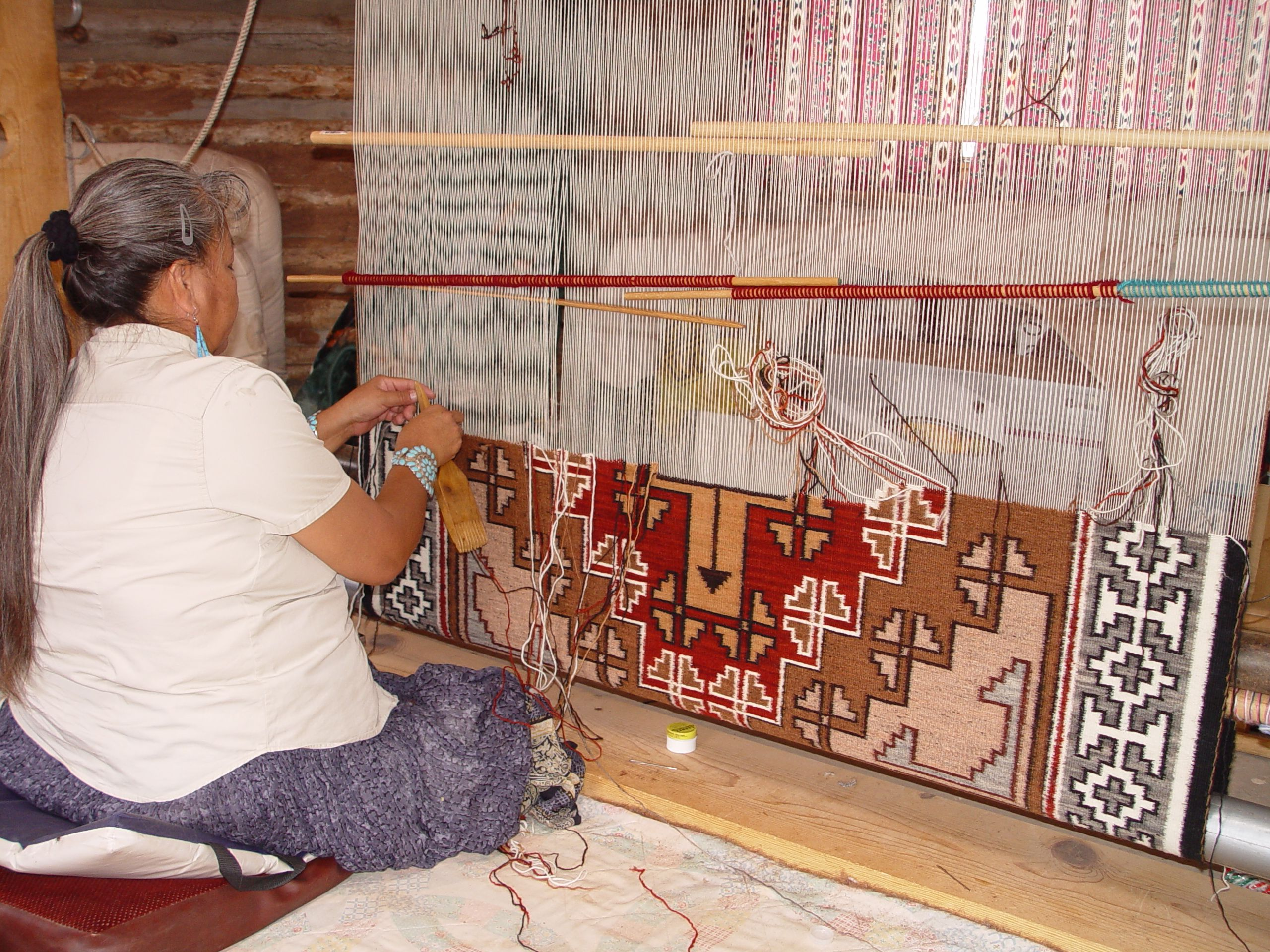 Navajo Rug In Progress Notice How She Is Working On The