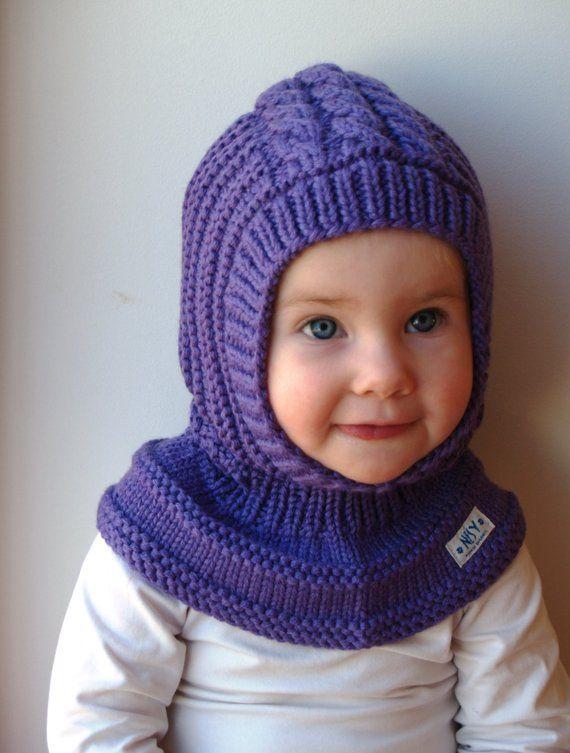 Photo of Merino wool balaclava, baby / toddler / kids hoodie hat, purple hat.