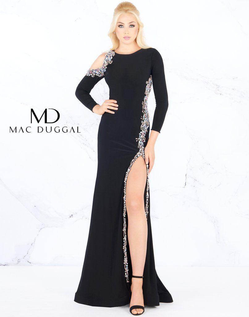 03537d9c4241 Mac Duggal Long Sleeve Thigh High Slit Formal Prom Dress | Dress ...