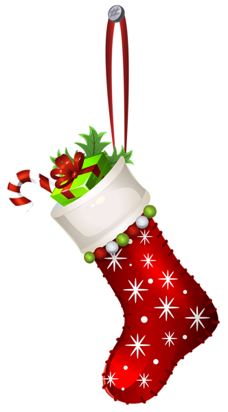 Red Christmas Stocking Transparent PNG Clip Art Image