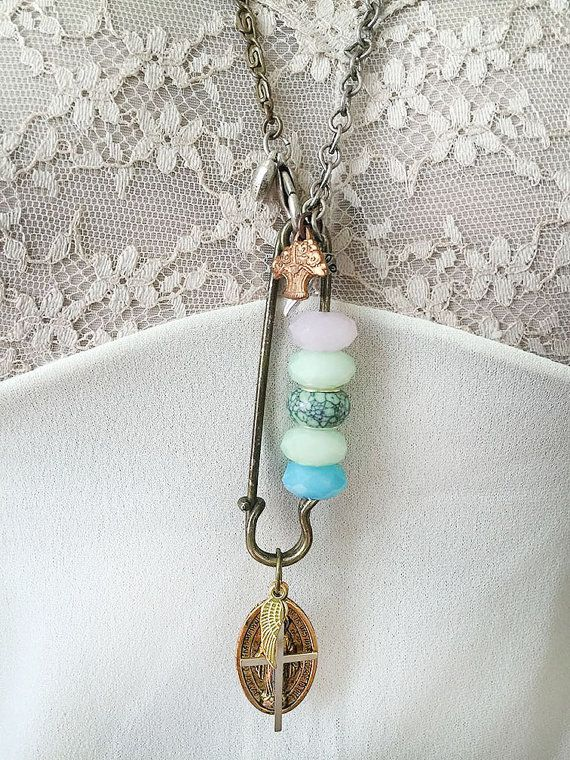underpinningupcycled safety pin pendant necklace core di
