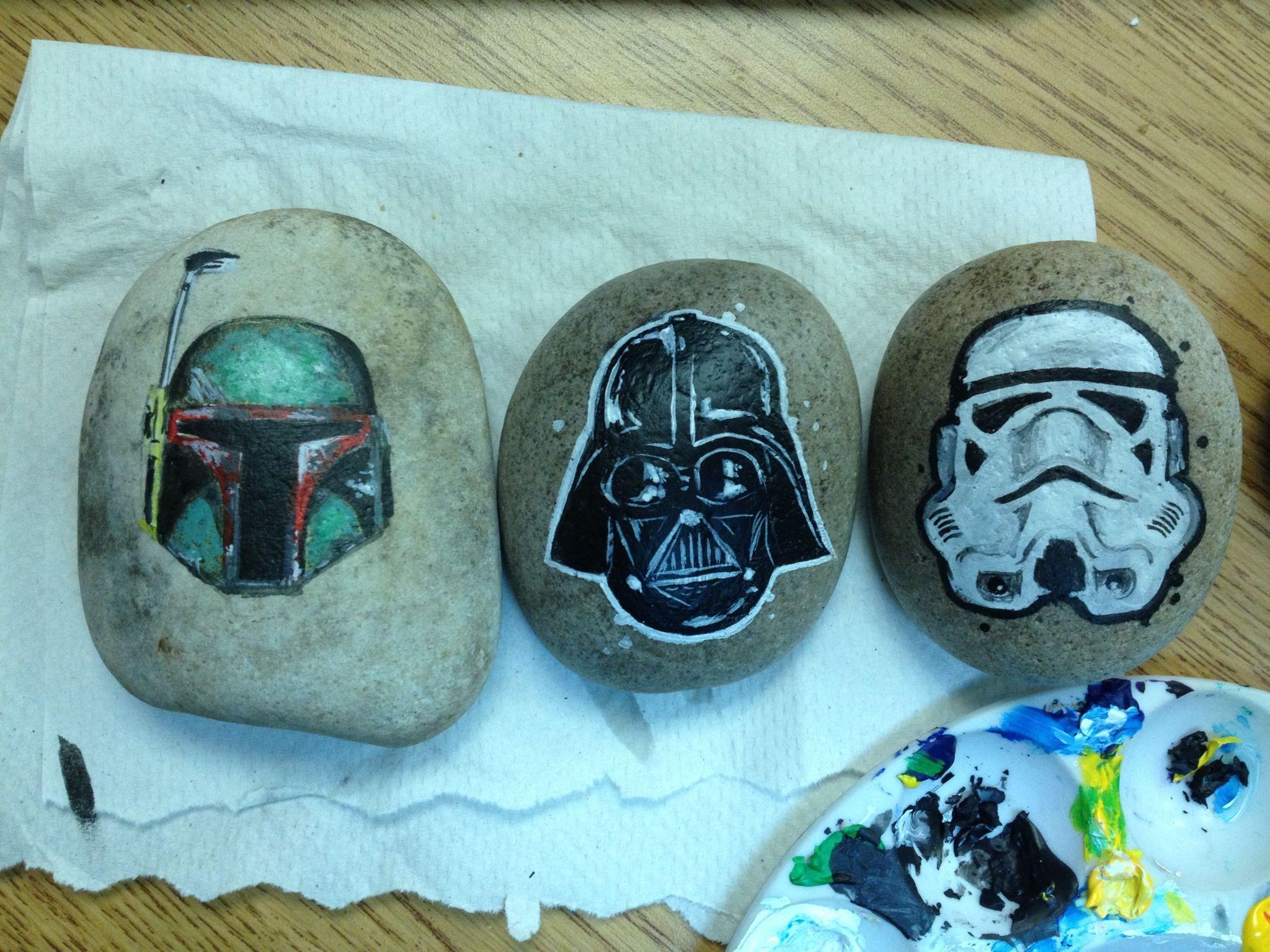 Star Wars Painted Rocks By Artist Daniel Langhans Boba Fett Darth Vader Storm