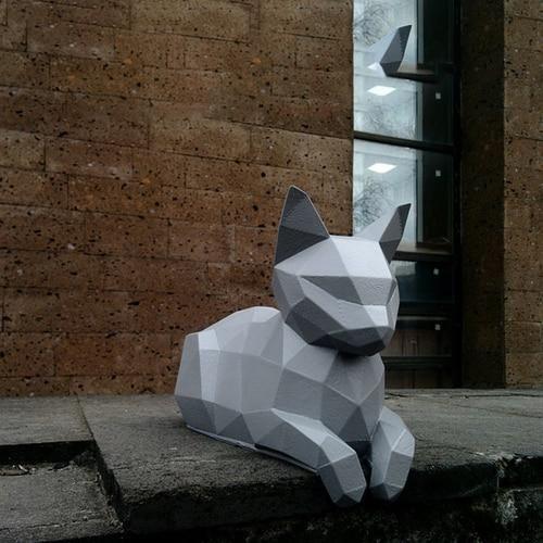 Photo of 22 cm high resting cat bedroom living room cat ratio 3D three-dimensional ornaments paper craft model handmade DIY origami model – Gray