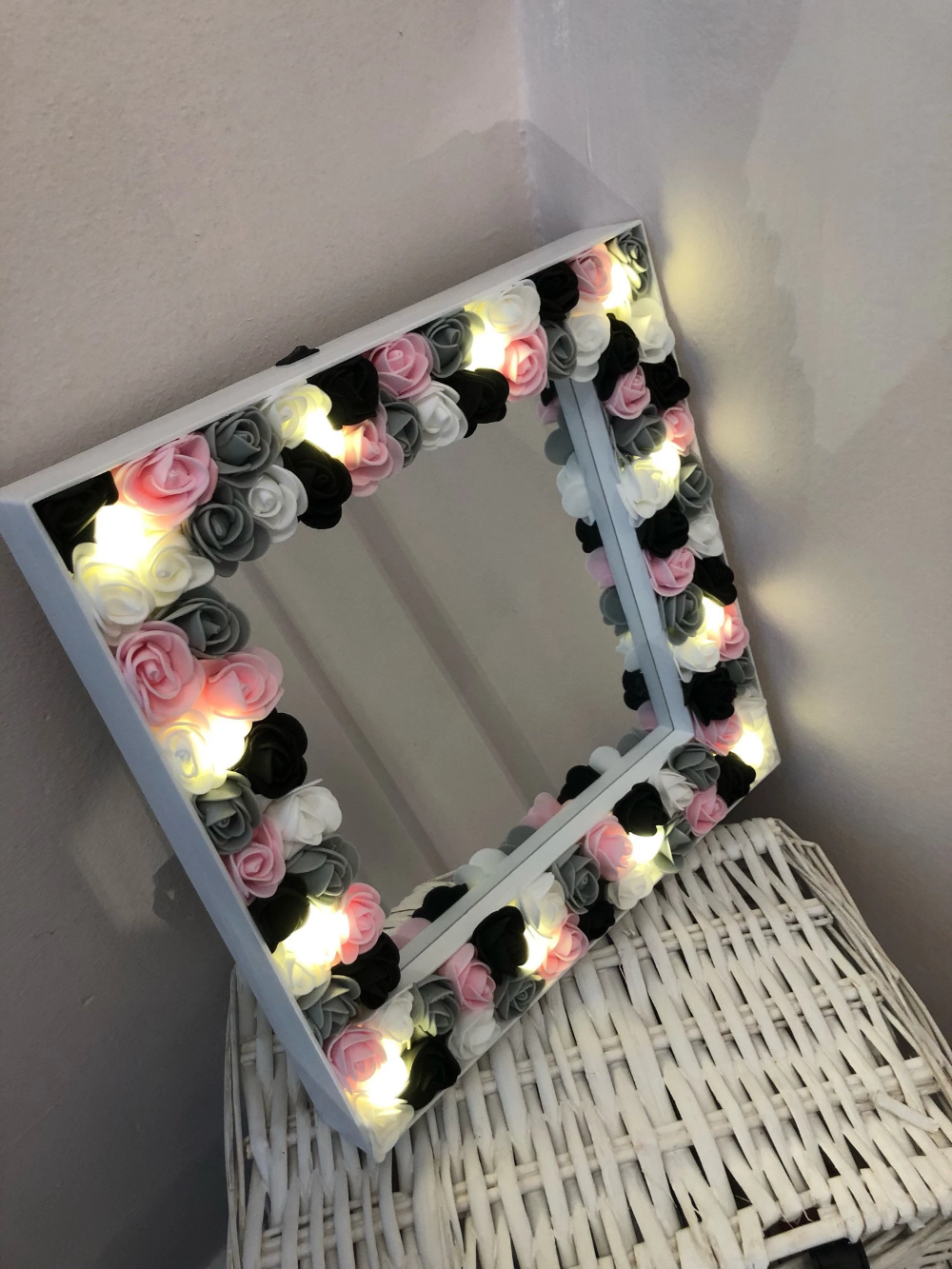 Floral Light Up Mirror Dressing Table Kids Room Georgie Scott Diy Floral Mirror Floral Mirror Diy Flower Mirror