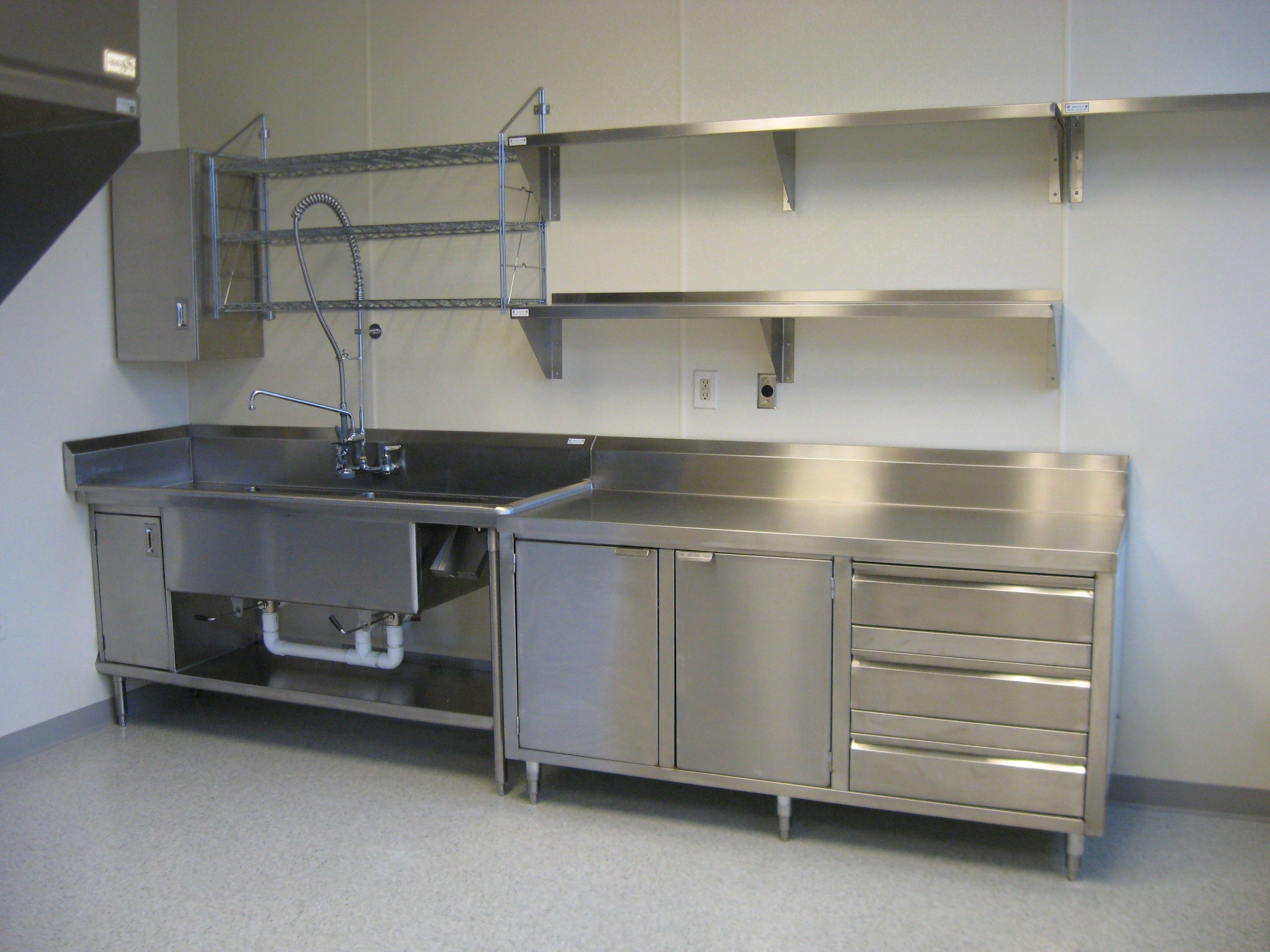 Shelving Stainless Steel Fitted Units Commercial Kitchen Large