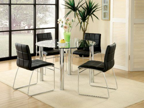 Furniture of America Clarks 5-Piece Dining Set with Black Chairs
