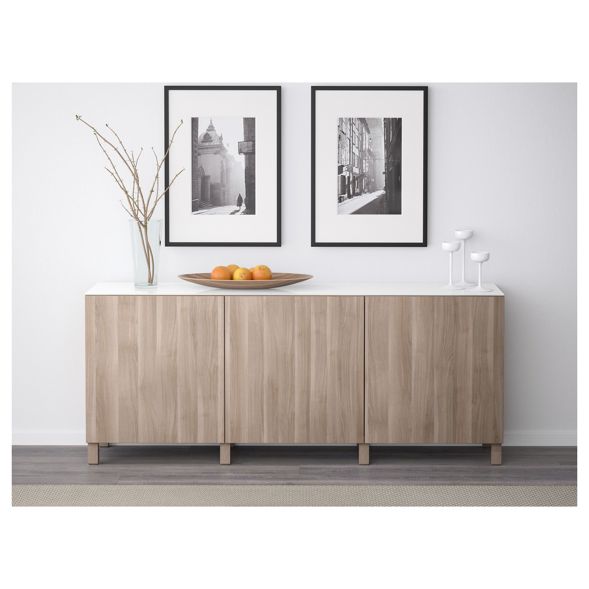 BESTå Storage combination with doors, Lappviken walnut effect light gray IKEA Ikea storage