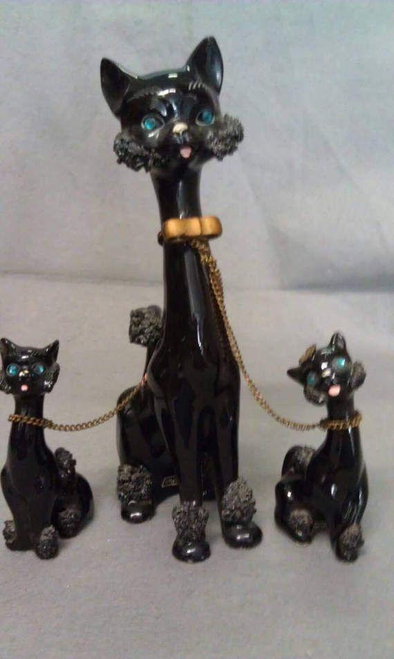 Kreiss Co Black Cats With Green Rhinestone Eyes By Gocrkantiques Black Cat Cat Ornament Small Cat