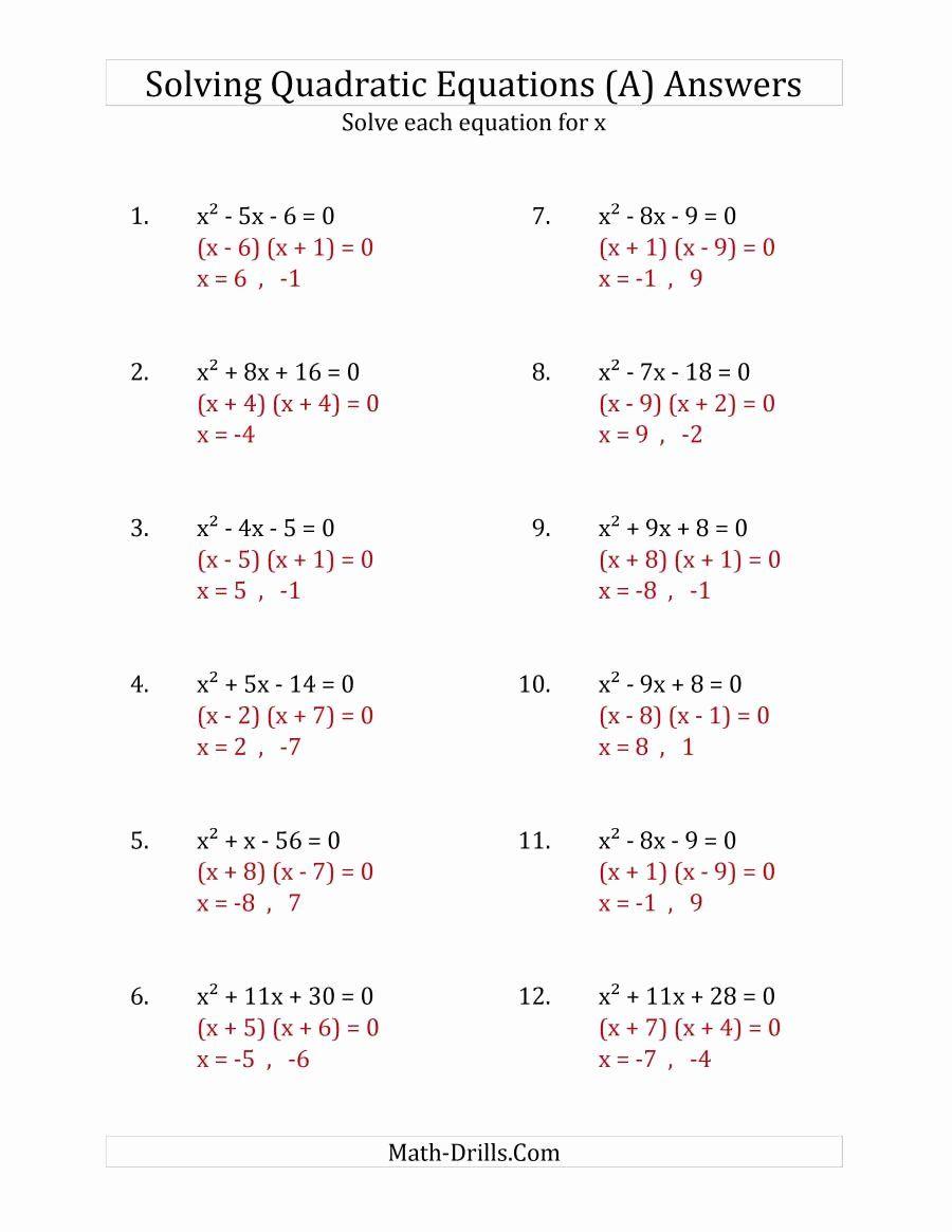 medium resolution of Solving Quadratic Equations Worksheet Inspirational solving Quadratic  Equations for X with A Coeffici…   Solving quadratic equations