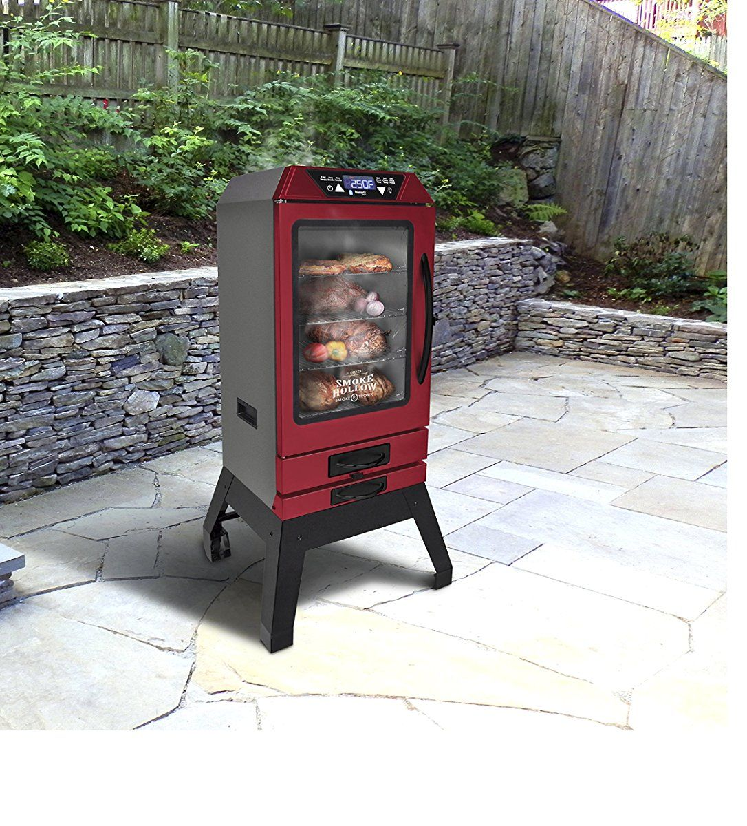 Smoke Hollow D4015RS40-InchDigital Electric Smoker with Smoke-Tronix Bluetooth Technology, Stand Included, Red #bluetoothtechnology