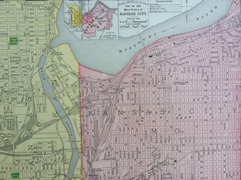 1898 KANSAS CITY Original Antique City Plan Map, 11 x 14 inches ...