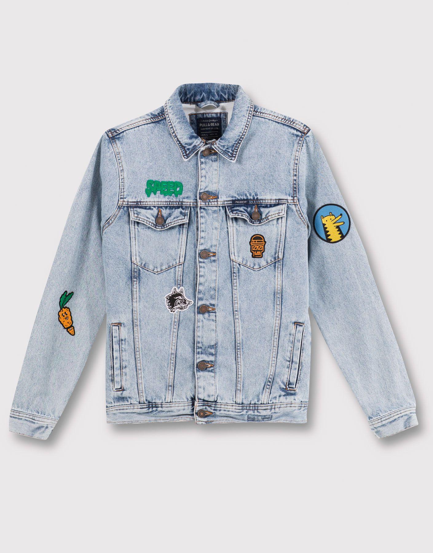 Patch Denim Jacket Jackets Blazers Man Pull Bear Turkey