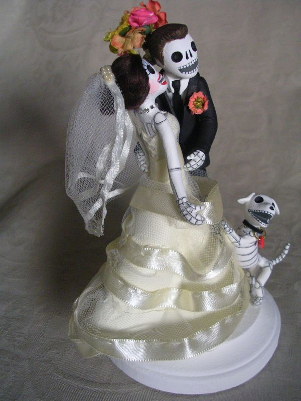 Day Of The Dead Wedding Cake Topper Skeleton Bride And Groom