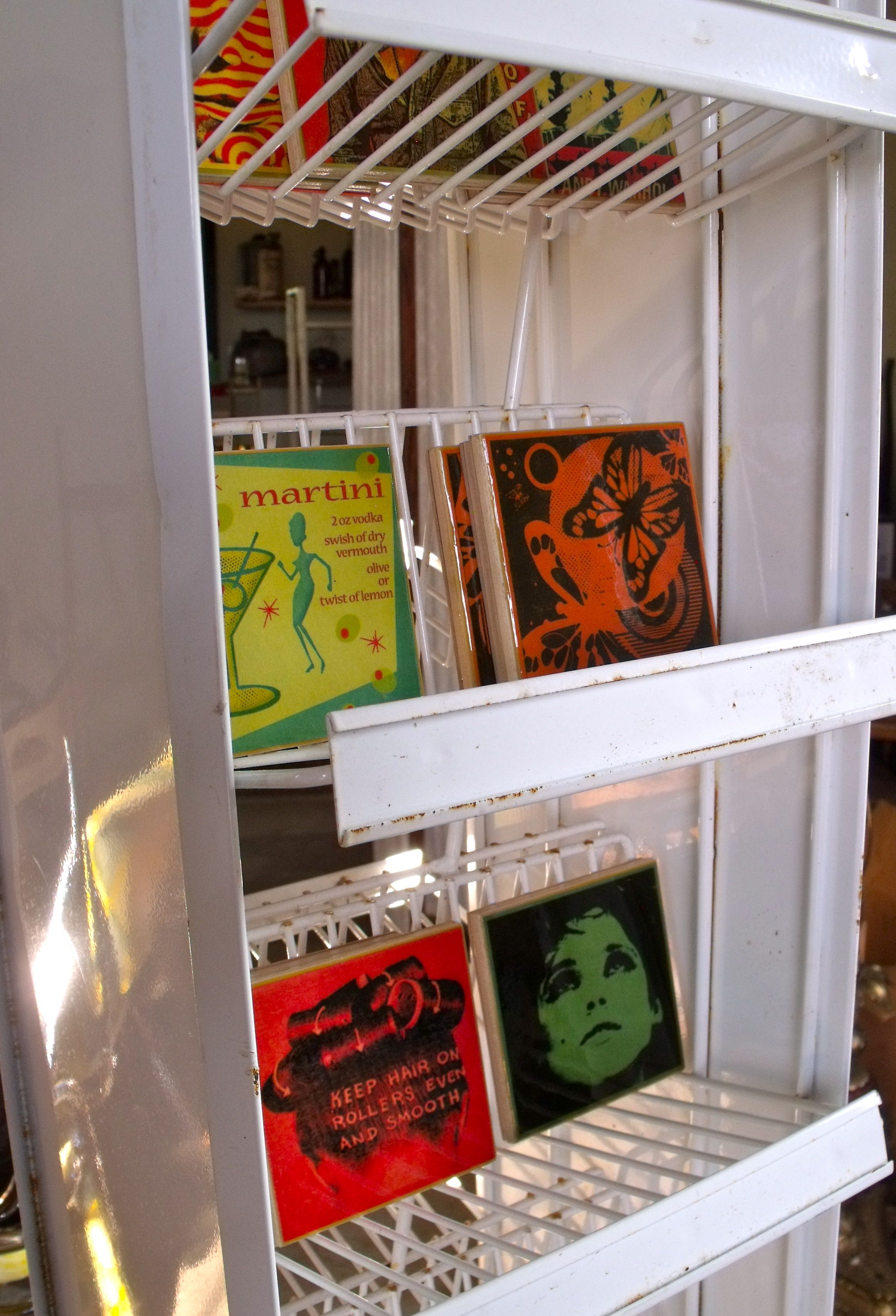 Up cycled tile coasters with POP icon images...made by us at REVIVAL! 12.00$